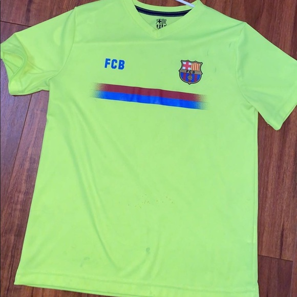 Shirts Fc Barcelona Messi 10 Jersey Neon Yellow Poshmark